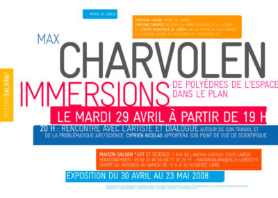 Max Charvolen, « Immersions », carton d'invitation. Conception graphique : Yann Febvre.