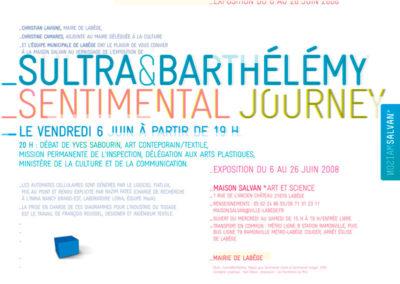 Sultra et Barthélémy, « Sentimental journey », carton d'invitation. Conception graphique : Yann Febvre.