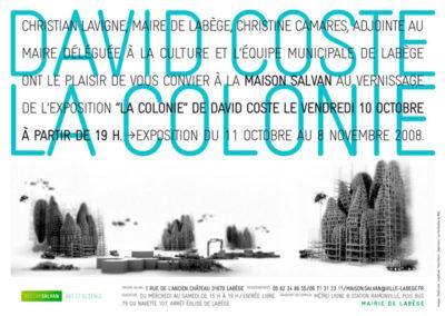 David Coste, « La Colonie », carton d'invitation. Conception graphique : Yann Febvre.
