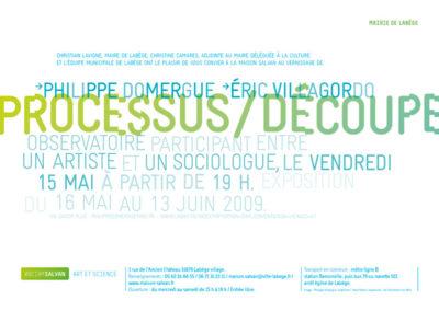 Philippe Domergue et Éric Villagordo, « Processus / Découpe », carton d'invitation. Conception graphique : Yann Febvre.