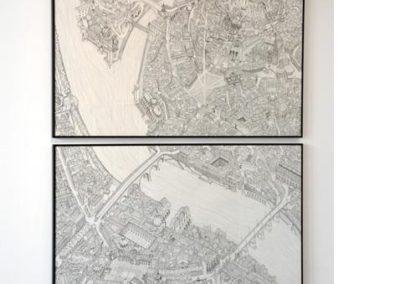 Pascal Ruetsch, vue de l'exposition. «Les villes séparées», crayonné et encre sur papier, 1999.