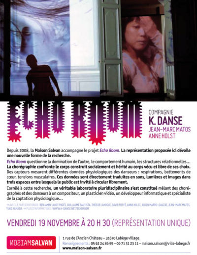 K. Danse, « Echo Room », flier. Conception graphique : Yann Febvre.