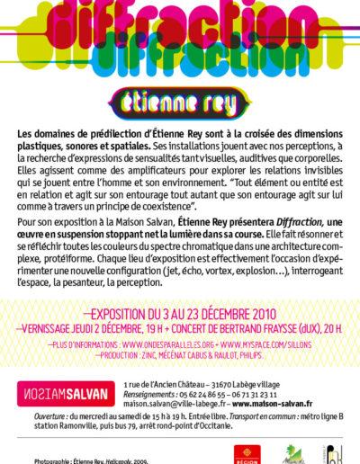 Étienne Rey. Flier l'exposition « Diffraction ». Conception graphique : Yann Febvre