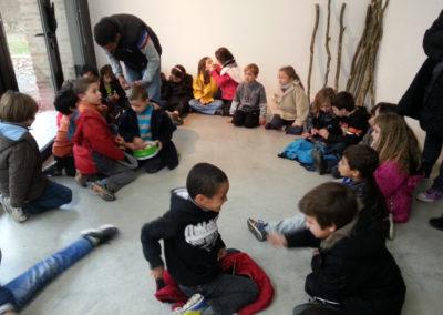 Visite de l'école de Labège, exposition «Topos» de Mathias Poisson.