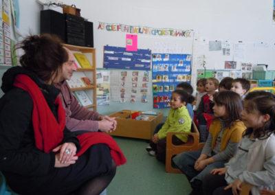 Atelier à l'école de Labège des artistes du Collectif DING.