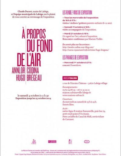Carton d'invitation Annlor Codina, Hugo Brégeau, « À propos du fond de l'air ». Conception graphique : Yann Febvre.