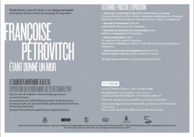 Carton d'invitation Françoise Pétrovitch, « Étant donné un mur ». Conception graphique : Yann Febvre.