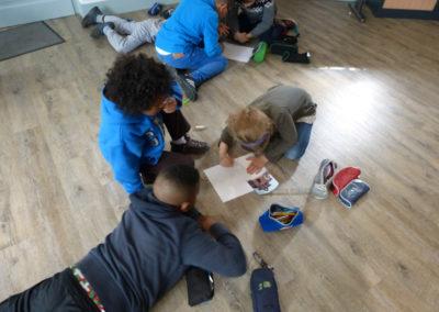 Atelier «paysage instantané» dans le cadre de l'exposition «Je de cartes», école primaire Soupetard de Toulouse.