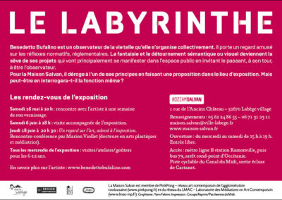 Flier « Le Labyrinthe », Benedetto Bufalino. Conception graphique : Yann Febvre.