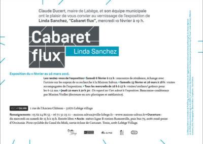 Carton d'invitation « Cabaret flux ». Conception graphique : Yann Febvre.
