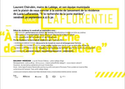Carton d'invitation «À la recherche de la juste matière». Conception graphique : Yann Febvre.