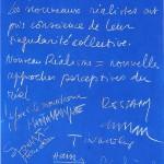 Manifeste du Nouveau Réalisme signé par les artistes en 1960.