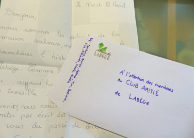 28 avril 2016 : courrier au Club Amitié.