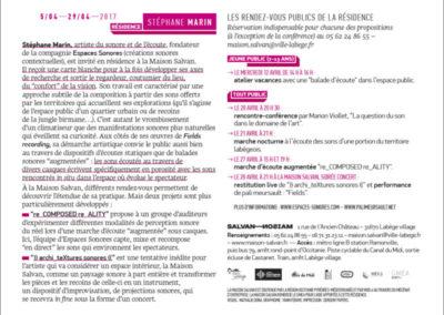 Flier de la résidence de Stéphane Marin. Conception graphique : Yann Febvre.