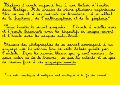 Page 3 du carnet d'écoutes associé à la balade sonore dans Labège.