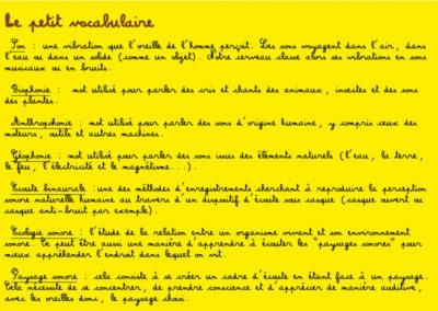 Page 8 du carnet d'écoutes associé à la balade sonore dans Labège.