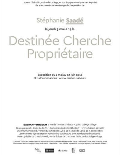 Carton d'invitation de l'exposition «Destinée Cherche Propriétaire». Conception graphique: Yann Febvre.