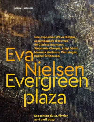 Carton d'invitation de l'exposition « Evergreen plaza » d'Eva Nielsen. Conception graphique: Yann Febvre.