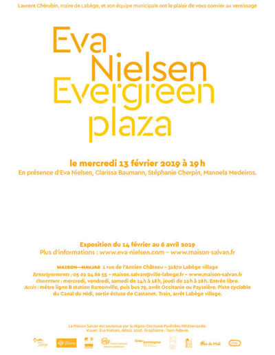 Carton d'invitation de l'exposition « Evergreen plaza » d'Eva Nielsen. Conception graphique : Yann Febvre.