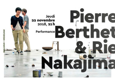 Flier pour la performance de Pierre Berthet & Rie Nakajima. Conception graphique : Yann Febvre.