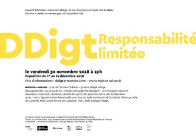 Carton d'invitation de l'expositon « Responsabilité limitée » de DDigt. Conception graphique : Yann Febvre.