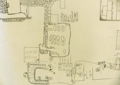 """Le trajet dessiné de la balade sensorielle proposée par Claire Sauvaget aux élèves de la classe de 5ème du collège Sainte-Famille. Projet """"Laps d'espace"""", classe à PAC, 2019."""