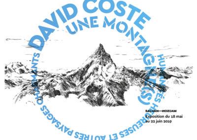 """Carton d'invitation de l'exposition """"Une montagne(s). Humanités heureuses et autres paysages charmants"""" de David Coste. Conception graphique : Yann Febvre."""