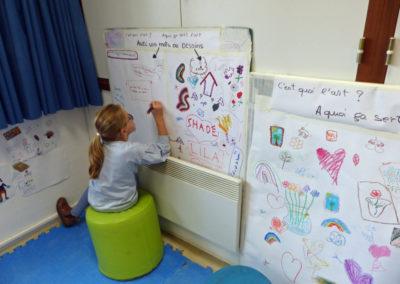 """Projet """"Ce qui nous touche"""", premières séances à l'école, 2018."""