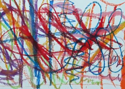 """Projet """"Ce qui nous touche"""", premières séances à l'école : l'excitation dessinée par Ana, 2018."""