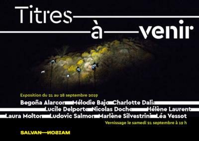 Flier de l'exposition « Titres à venir ». Conception graphique : Yann Febvre.