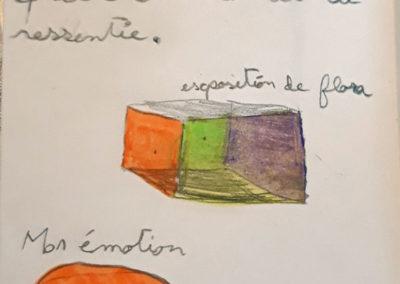 """Extrait d'un carnet individuel réalisé par un des enfants du groupe """"La Mémoire à réaction"""", projet EAC 2019."""