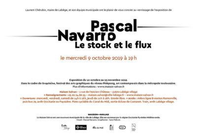 Carton d'invitation de l'exposition Pascal Navarro « Le stock et le flux ». Conception graphique : Yann Febvre.